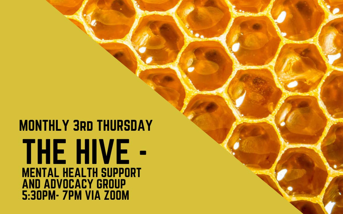 The Hive banner with honeycomb close up